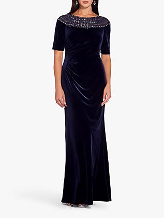 Adrianna Papell Velvet Beaded Gown, Midnight