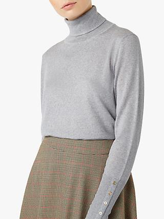 Hobbs Lara Roll Neck Top, Grey Melange