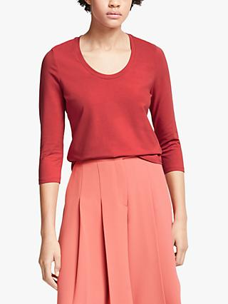 John Lewis & Partners 3/4 Sleeve Cotton Stretch Scoop Neck T-Shirt, Dark Red