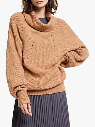Modern Rarity Pointelle Roll Neck Jumper, Natural