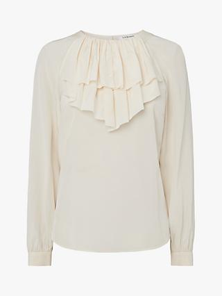 L.K.Bennett Roque Ruffle Neck Silk Blouse, Cream