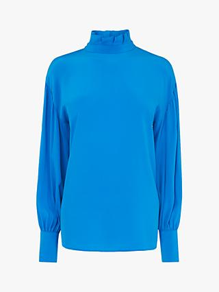 L.K.Bennett Chapelle High Neck Silk Blouse, Turquoise