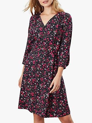 Joules Nettie V-Neck Floral Print Dress, Blue/Ditsy