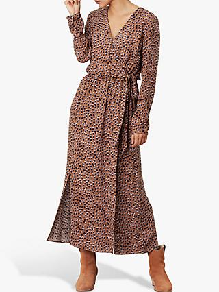 Joules Chloe Fixed Wrap Dress, Mocha Spot