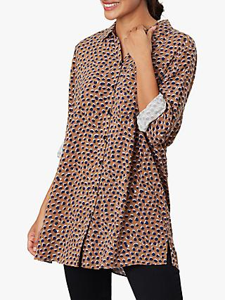 Joules Erika Button Through Blouse, Mocha Animal Spot