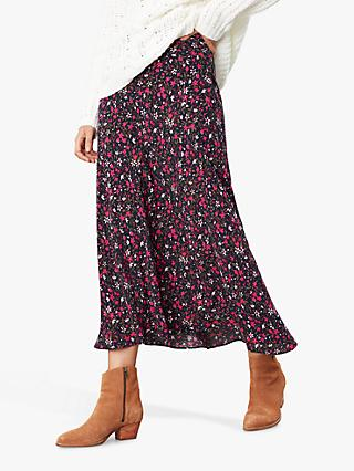 Joules Coletta Ditsy Floral Print Bias Cut Midi Skirt, Navy