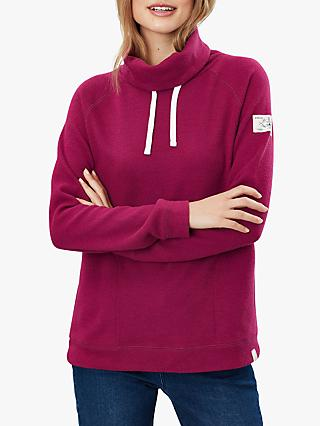 Joules Nadia Ribbed Hooded Sweatshirt, Berry