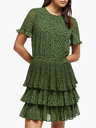 MICHAEL Michael Kors Mini Lilly Tier Dress, Black/Evergreen