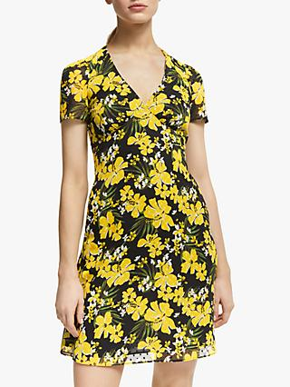 MICHAEL Michael Kors Blossom V-Neck Dress, Black/Bright Dandelion