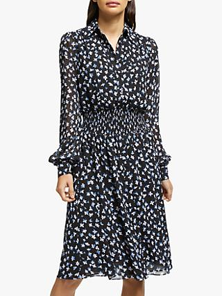 MICHAEL Michael Kors Tossed Lilies Flared Dress, Black/Multi