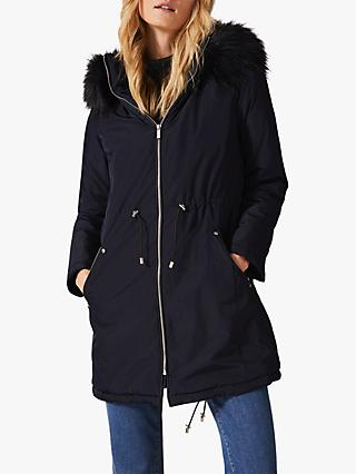 Phase Eight Florentine Faux Fur Parka Coat, Navy
