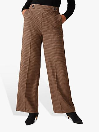 Phase Eight Vye Dogtooth Wide Leg Trousers, Black/Camel