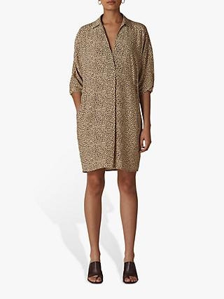 Whistles Mini Leopard Print Shirt Dress, Beige/Black