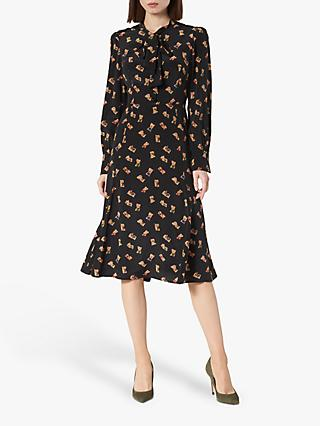 L.K.Bennett Mortimer Book Print Silk Dress, Black