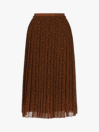L.K.Bennett Avery Coral Print Pleated Midi Skirt, Coffee