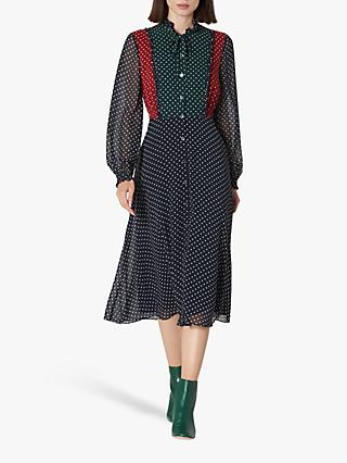 L.K.Bennett Filia Polka Dot Shirt Dress, Multi