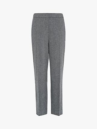 L.K.Bennett Frances Slim Wool Trousers, Grey