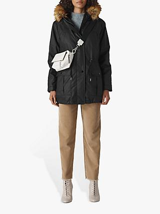 Whistles Willow Waxy Parka, Black