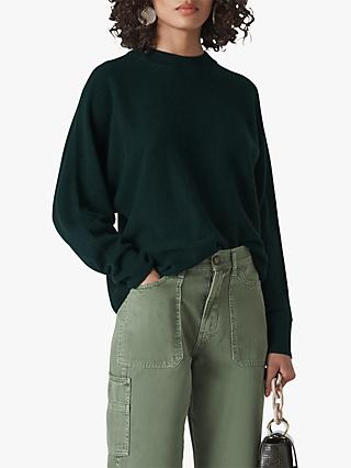 Whistles Dolman Cashmere Jumper, Dark Green