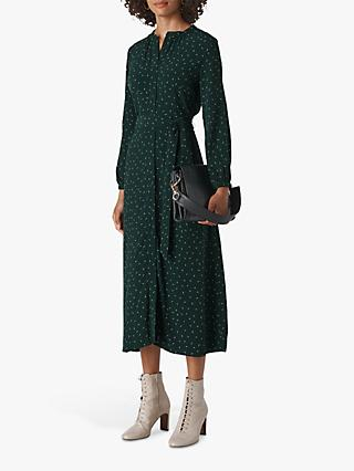 Whistles Sprinkle Shirt Dress, Green/Multi