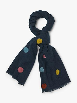 White Stuff Harbour Tufty Spot Scarf, Navy