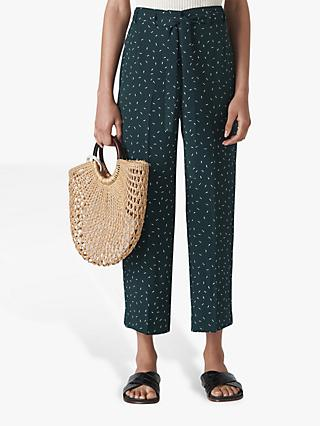 Whistles Sprinkle Tie Waist Cropped Trousers, Dark Green