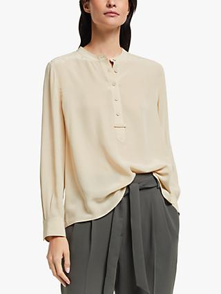Modern Rarity Silk Topstitch Placket Shirt, Natural