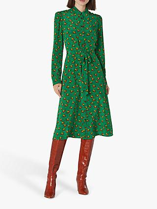 L.K.Bennett Sonya Bird Print Shirt Dress, Green