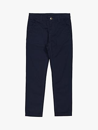 Polarn O. Pyret Children's Organic Cotton Chino Trousers, Dark Sapphire