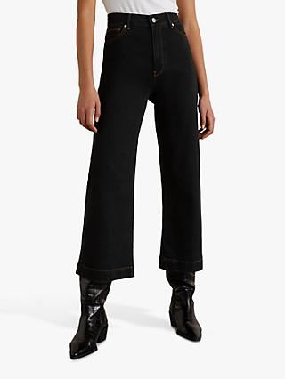 Jigsaw Wide Crop Contrast Stitch Jeans, Black