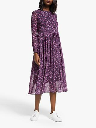 Numph Nufreja Long Sleeve Mesh Dress, Purple