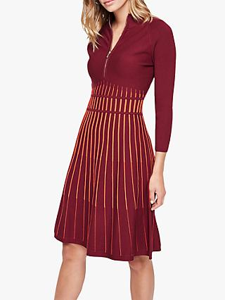 Damsel in a Dress Adela Stripe Knitted Tunic Dress, Red/Orange