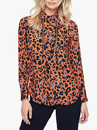 Damsel in a Dress Hena Leopard Print Chain Blouse, Orange