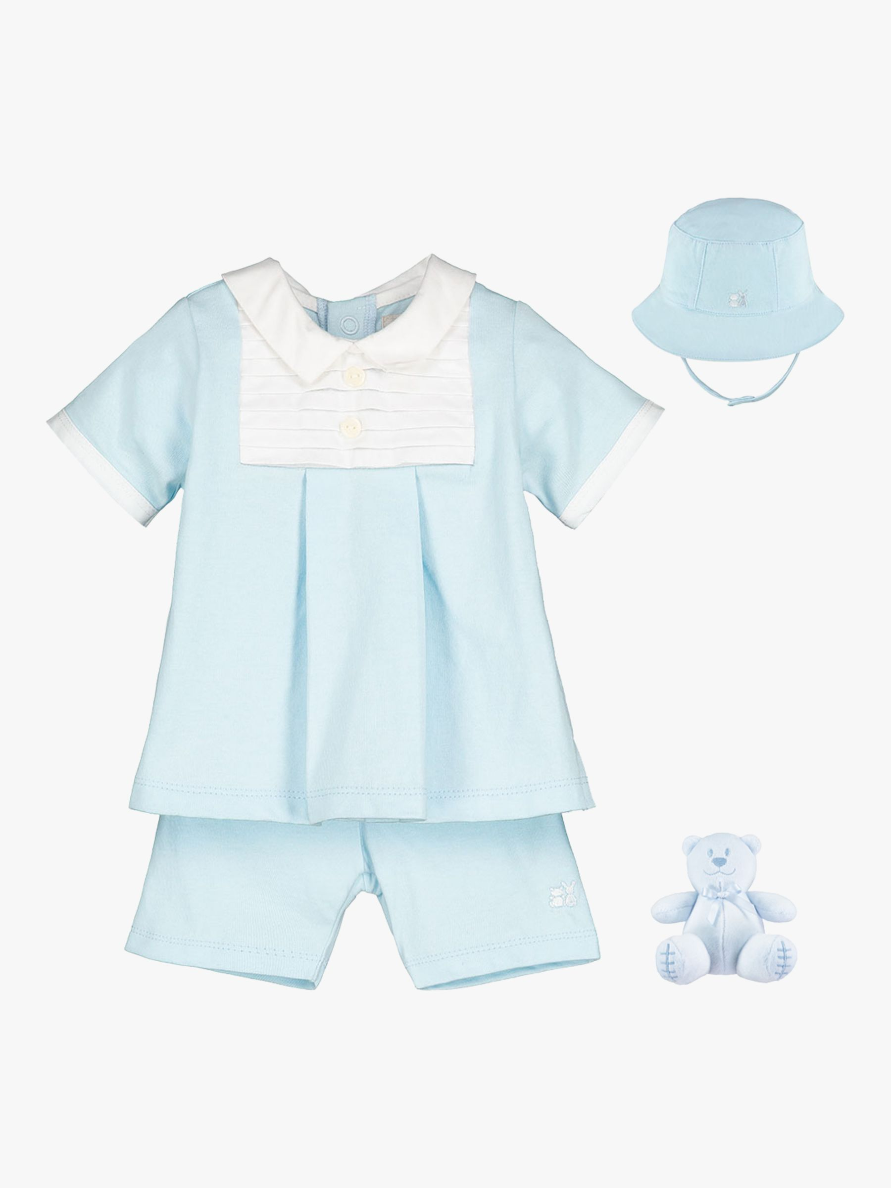 Emile et Rose Emile et Rose Sandler Top, Shorts, Hat and Teddy Bear Set