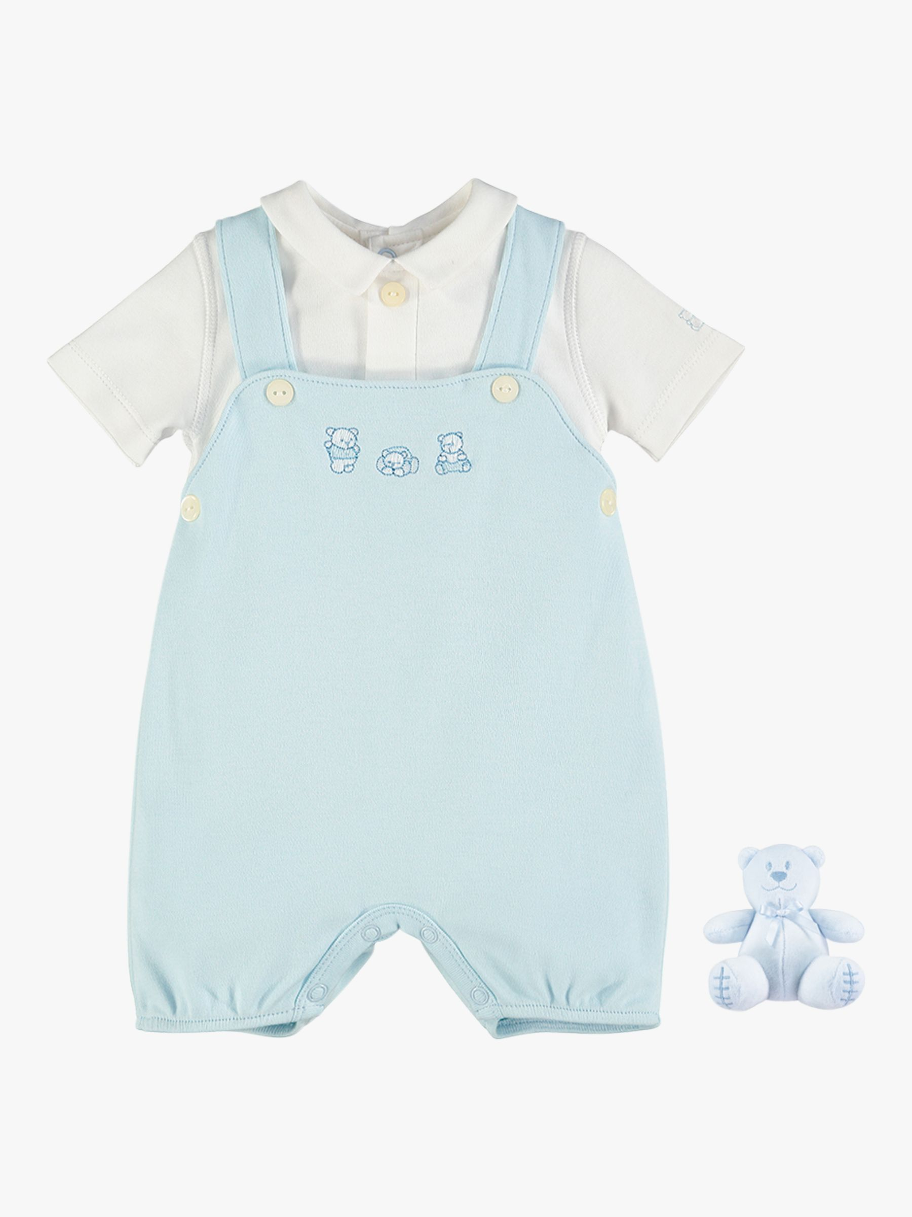 Emile et Rose Emile et Rose Stefano Dungaree and Teddy Bear Set, Pale Blue