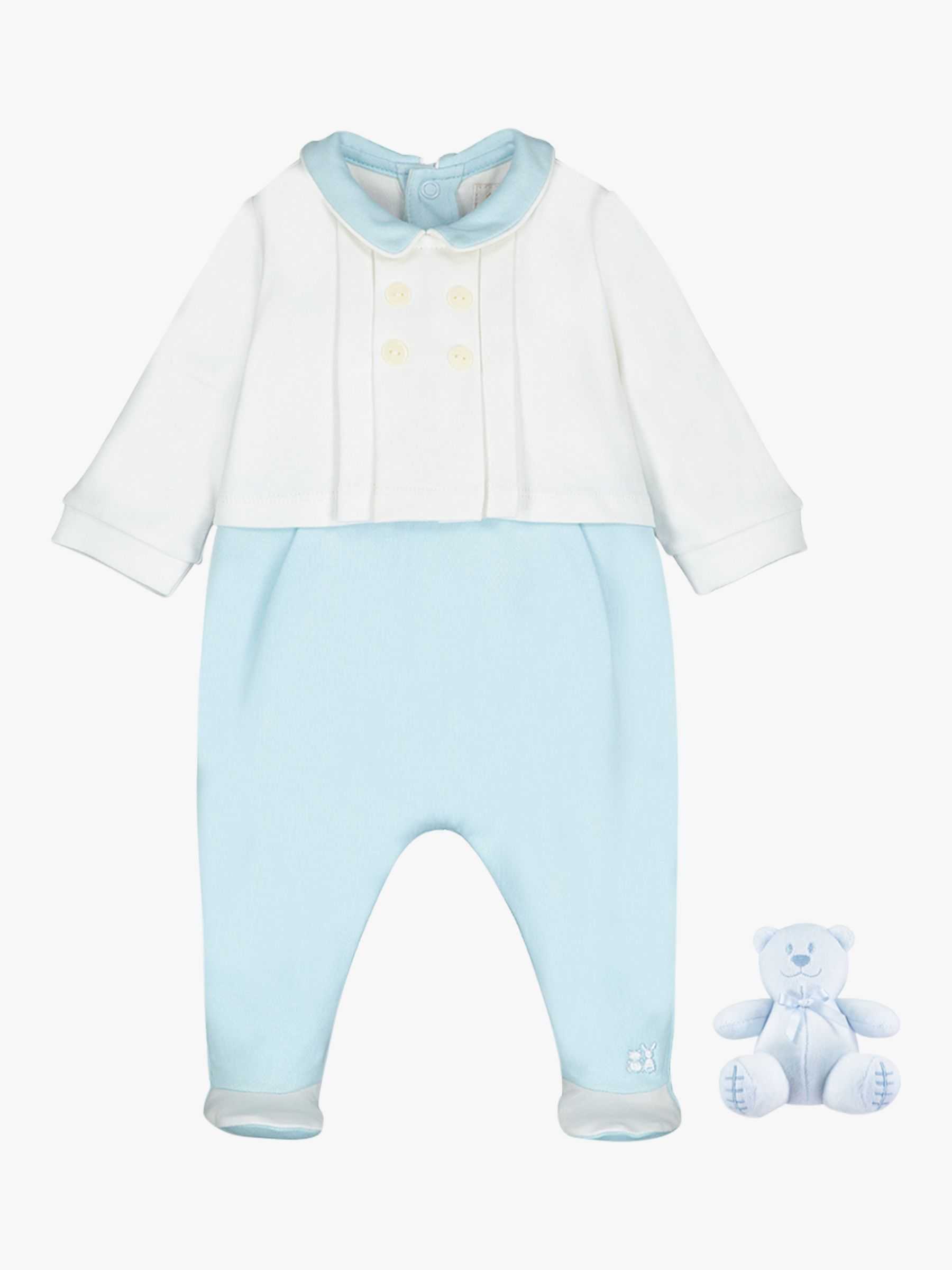 Emile et Rose Emile et Rose Seamus Pleated Sleepsuit and Teddy Bear Set, Pale Blue/White