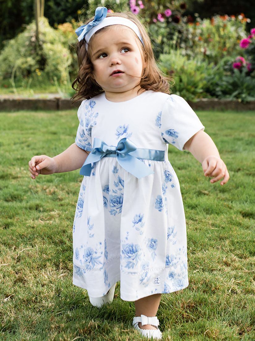 Emile et Rose Emile et Rose Baby Seren Dress and Teddy Set, Navy/White