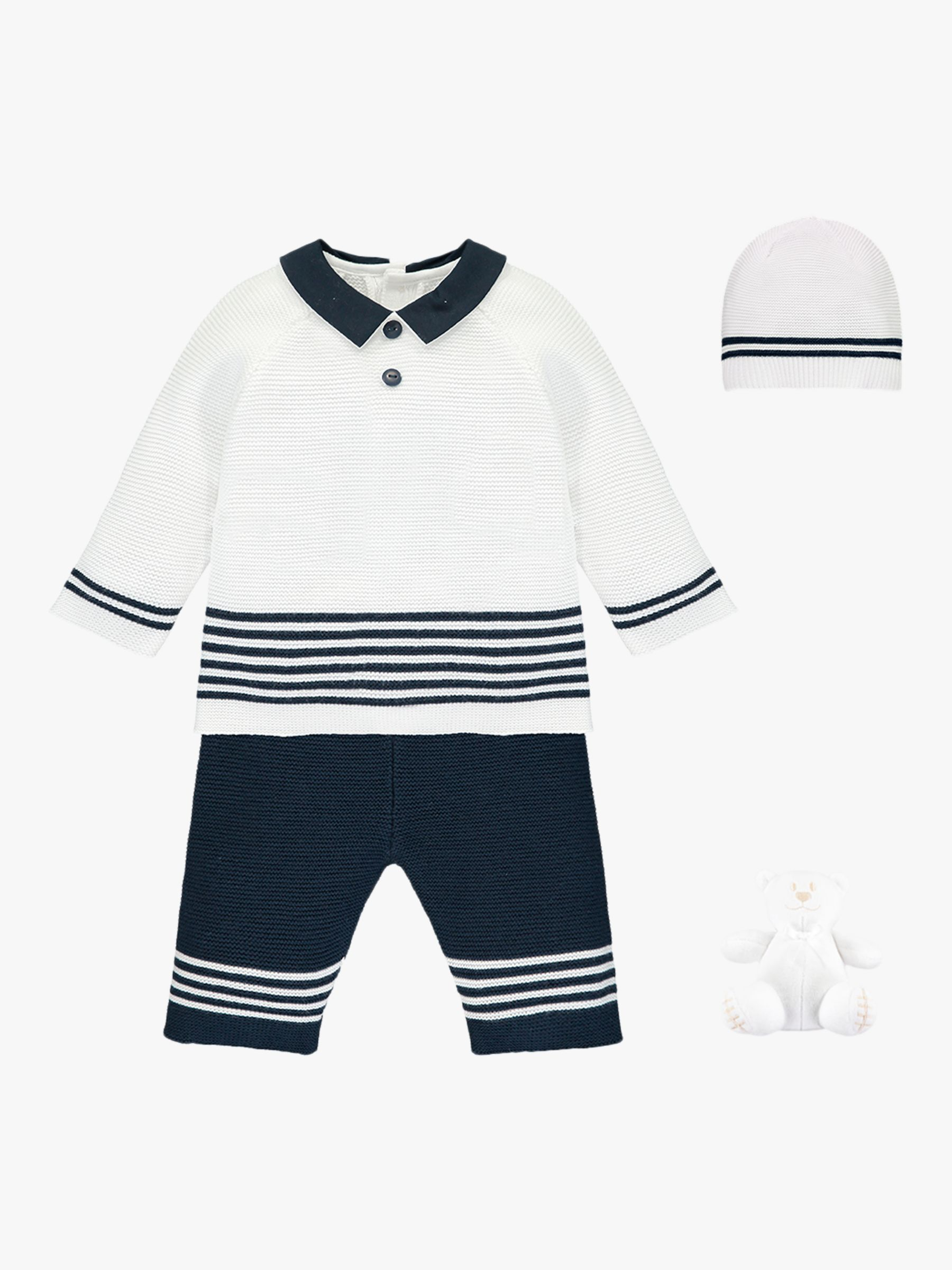 Emile et Rose Emile et Rose Silas Knit Jumper, Trousers, Hat and Teddy Bear Set, Navy/White