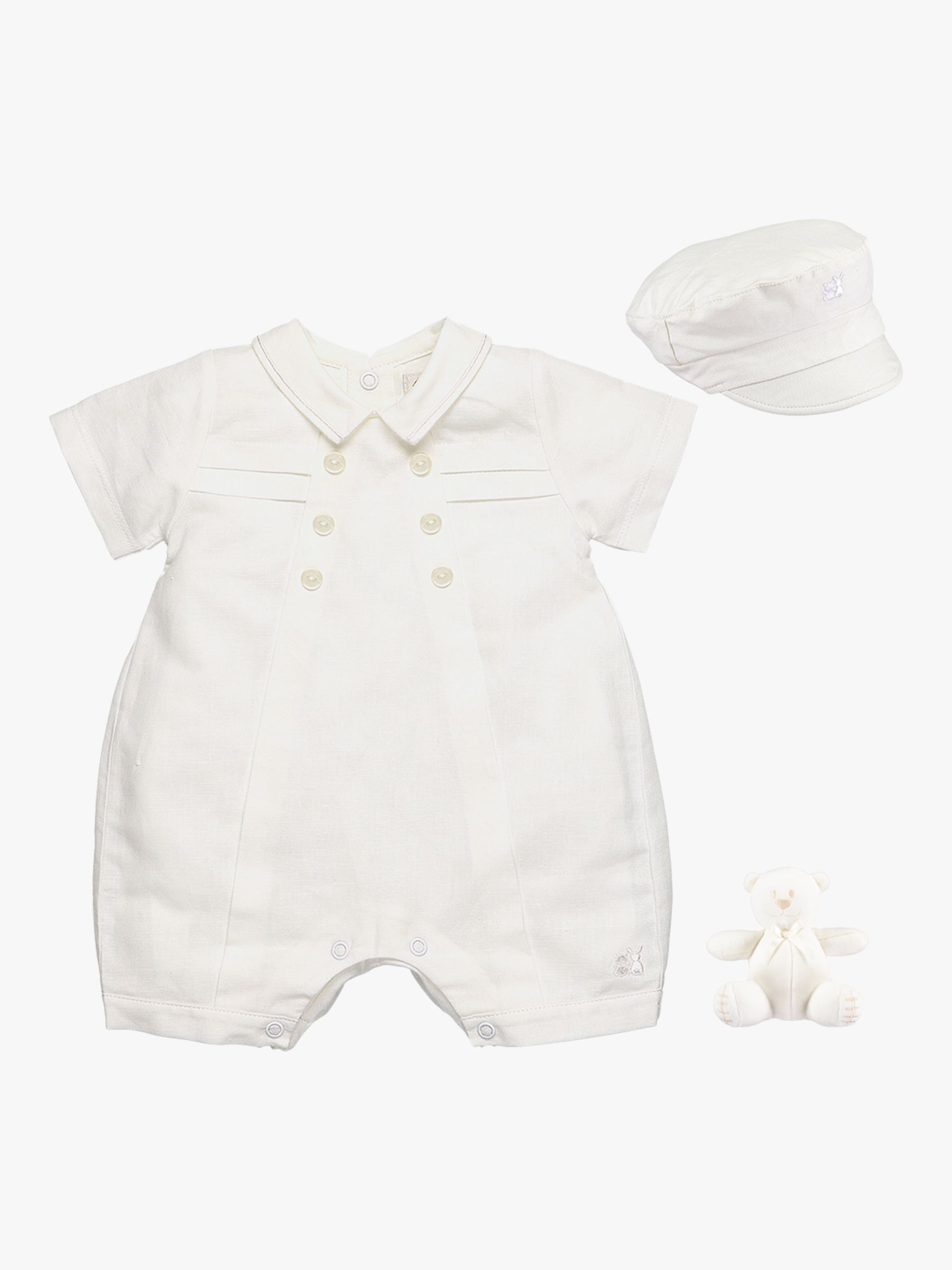 Emile et Rose Emile et Rose Pierre Romper, Hat and Teddy Bear Set, White