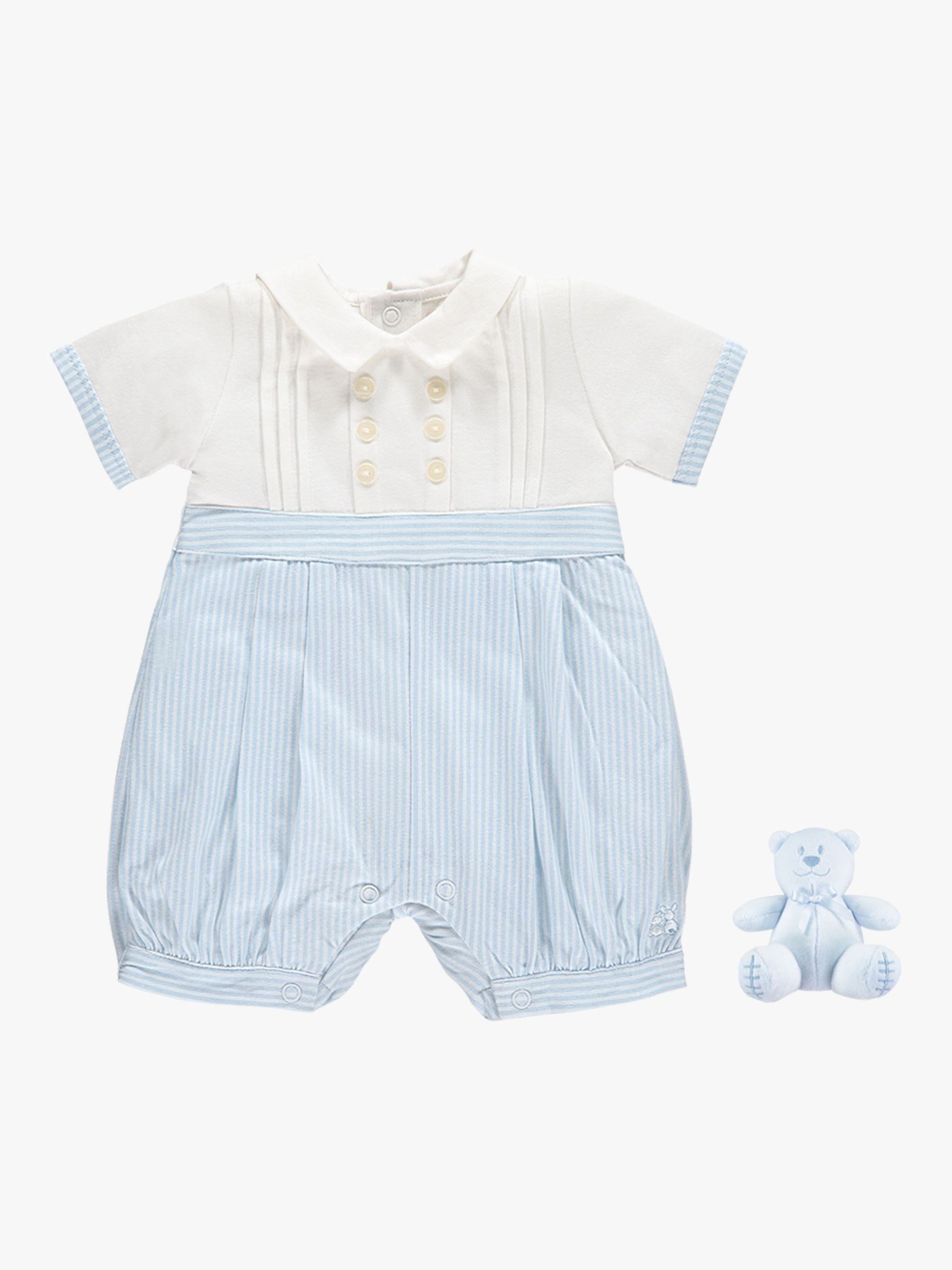 Emile et Rose Emile et Rose Saul Striped Romper, Pale Blue/White