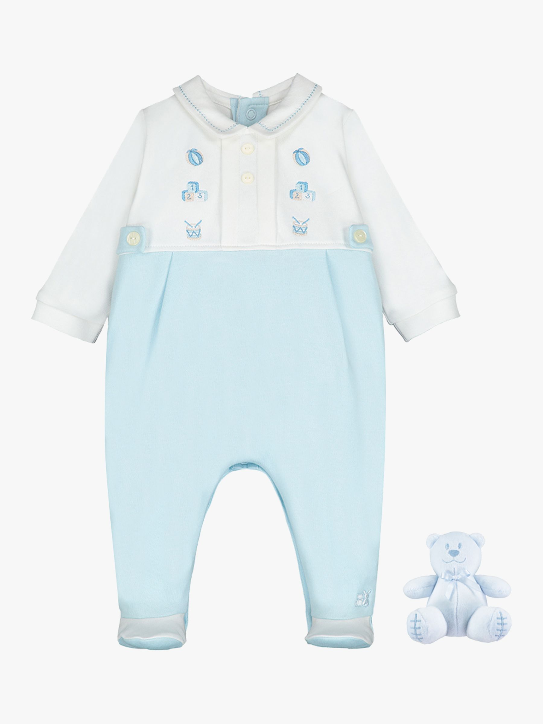 Emile et Rose Emile et Rose Sonny Sleepsuit and Teddy Bear Set, Pale Blue/White