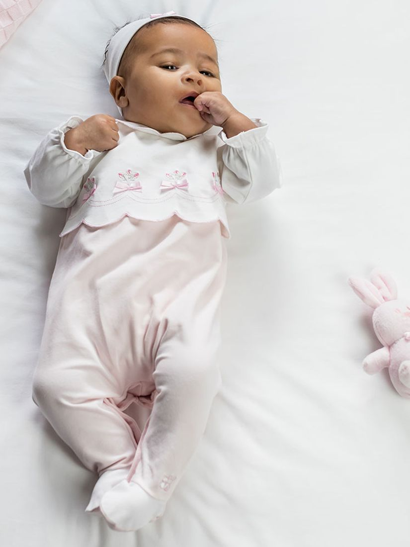 Emile et Rose Emile et Rose Sofia Sleepsuit and Teddy Bear Set, Pale Pink/White
