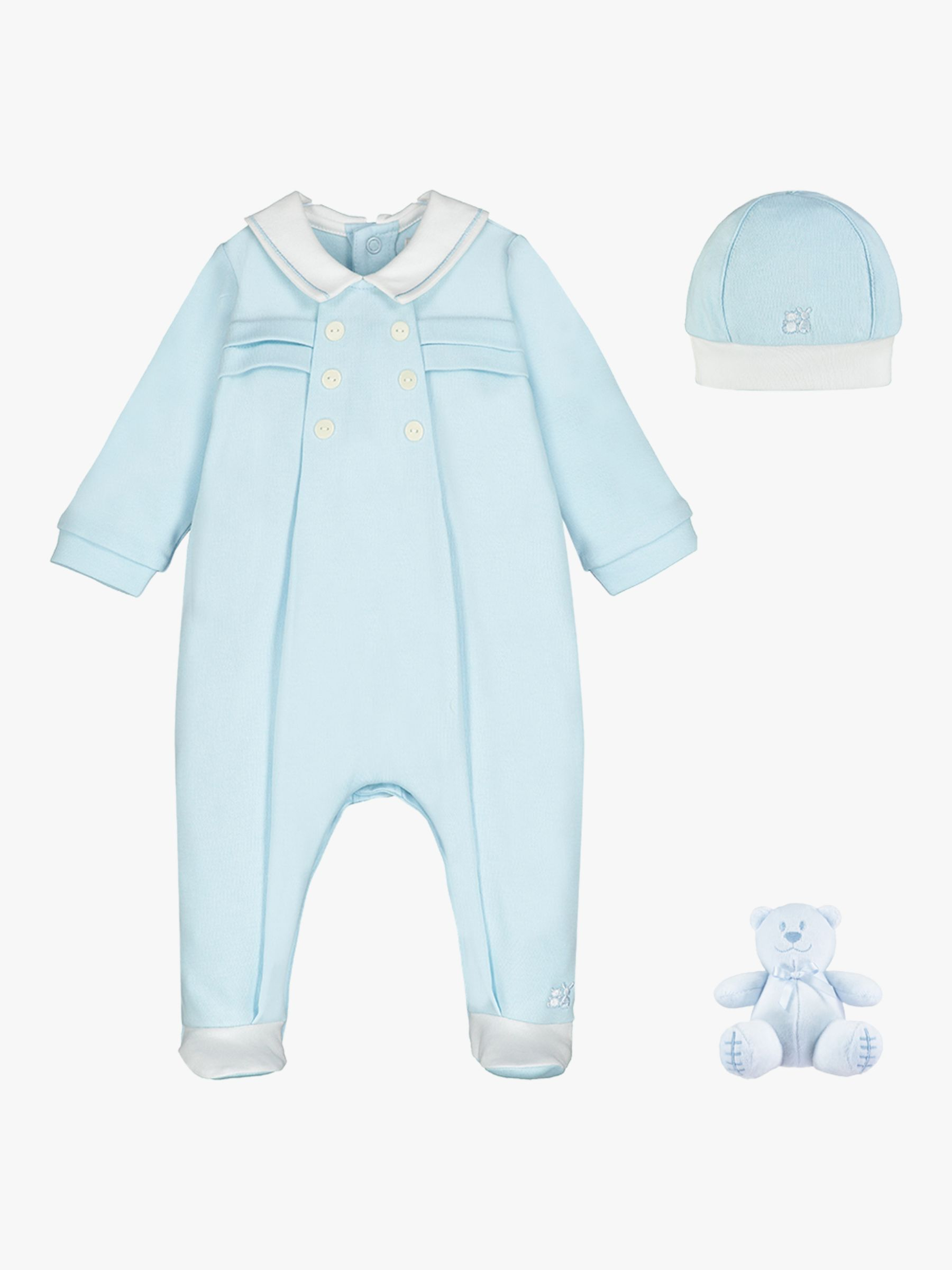 Emile et Rose Emile et Rose Seb Pleat Sleepsuit, Hat and Teddy Bear Set, Pale Blue/White