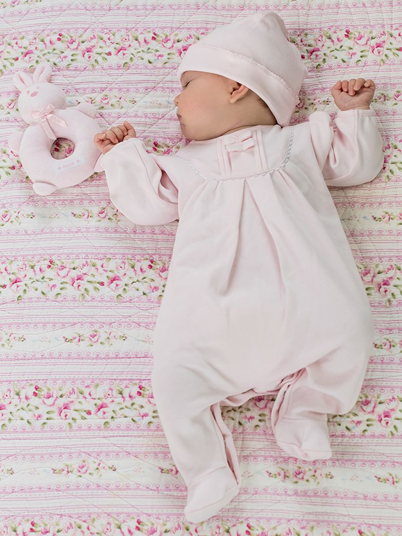 Emile et Rose Emile et Rose Shantel Pleat Sleepsuit, Hat and Teddy Bear Set, Pale Pink