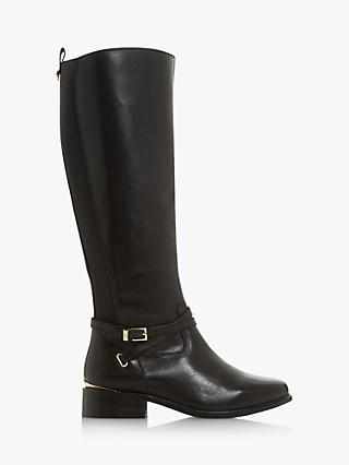 Dune True Leather Buckle Knee High Boots, Black