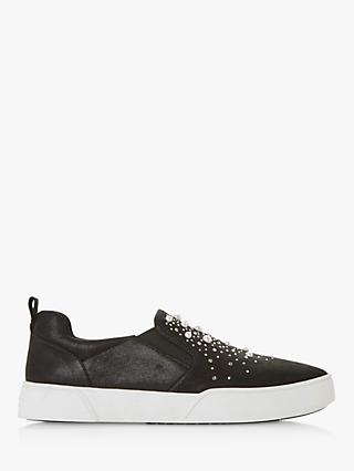 Dune Eshan Slip On Embellished Panel Trainers, Black