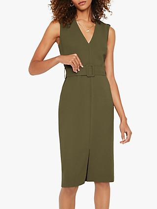 Warehouse Tab Shoulder Belted Dress, Khaki