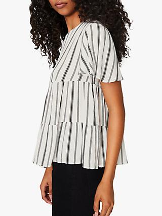 Warehouse Stripe Tiered Top, White