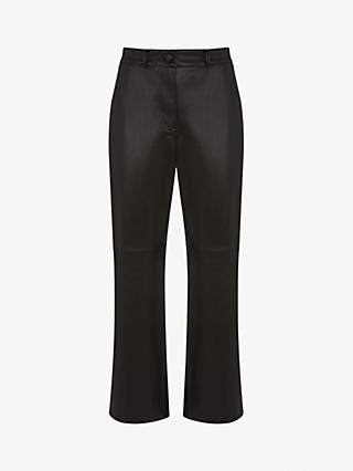 Mint Velvet Faux Leather Trousers, Black