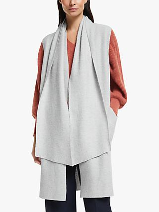 Modern Rarity Sleeveless Scarf Coatigan, Light Grey